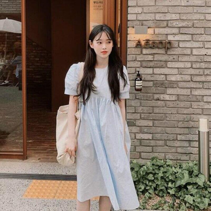 Mujer verano Vintage azul claro largo vestido suelto de alta cintura plisado breve Color sólido Pullover vestido sin mangas por debajo de la rodilla