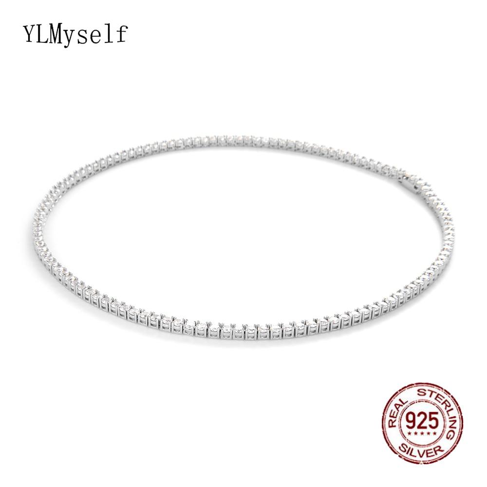 100% Guarante Real 925 Sterling Silver 2mm Zircon 41CM(16