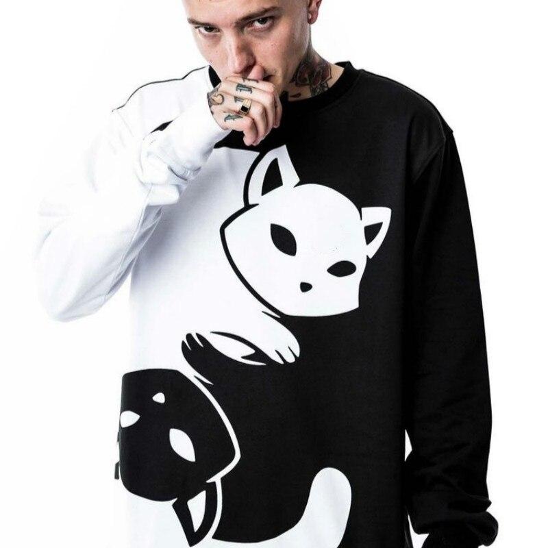 Весенне-осенняя модная мужская толстовка с капюшоном, спортивный костюм черного и белого цвета для пар, Yin Yang, пуловер с длинными рукавами, удобные повседневные свитера