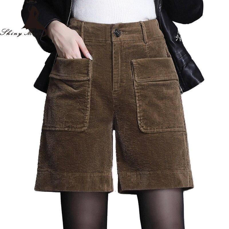Shinymora 2019 shorts de veludo para mulheres de cintura alta elegante solto shorts feminino casual botão fly shorts plus size shorts sólidos