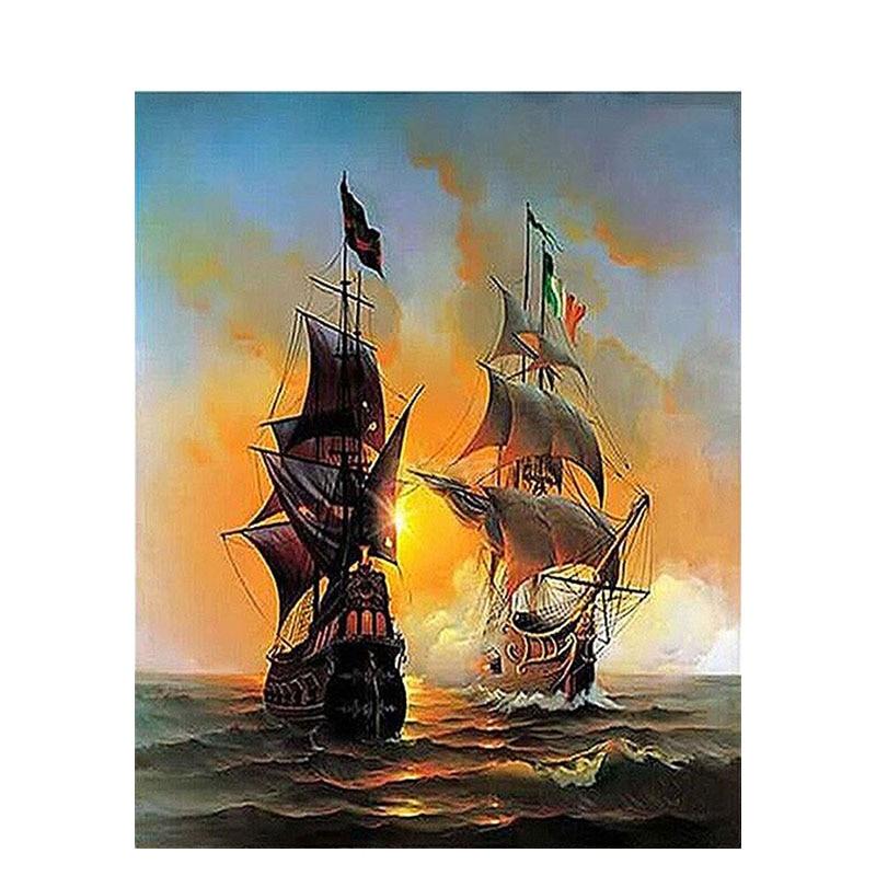 Pintura GATYZTORY por números para adultos niños barco pintura al óleo pintado a mano paisaje decoración de pared regalo