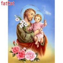 FATCAT Diamond Embroidery Religious people kids icon full square round Rhinestones 5d diy Diamond Painting flowers decor AE1946