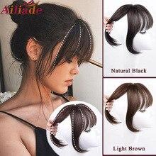 AILIADE marrone nero Top capelli scoppi 3 clip in frangia estensioni dei capelli capelli sintetici ad alta temperatura per le donne frangia 3D parrucca finta