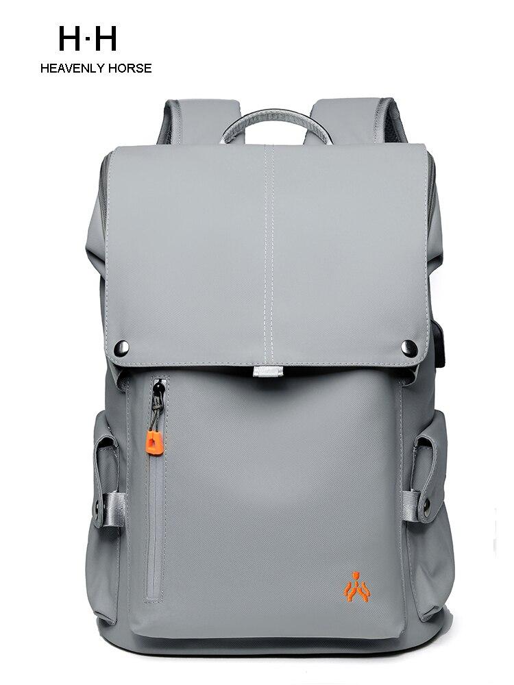 Мужской рюкзак для студентов колледжа, 15,6-дюймовый ноутбук, простой дорожный мужской рюкзак большой вместимости, брендовый модный серый