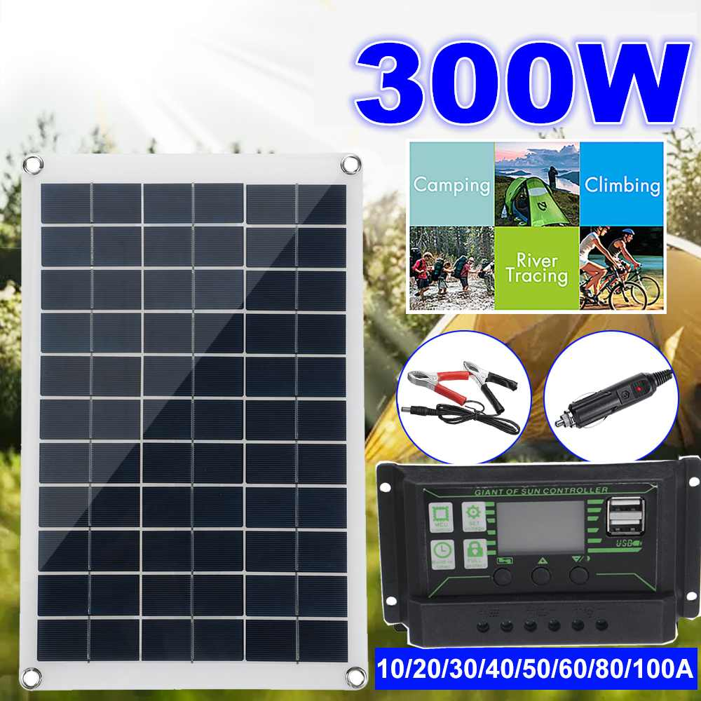 300W Solar Panel Kit Complete 12V USB With 10-100A Controller Solar Cells for Car Yacht RV Boat Moblie Phone Battery Charger