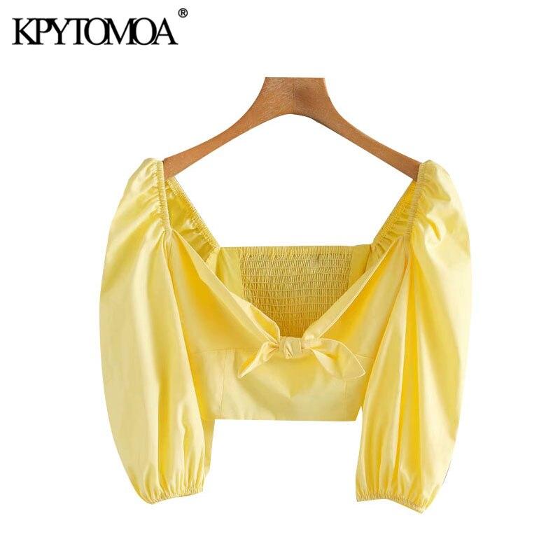 KPYTOMOA Women 2020 Sweet Fashion Bow Tie Cropped Blouses Vintage V Neck Short Sleeve Back Elastic Female Shirts Chic Tops