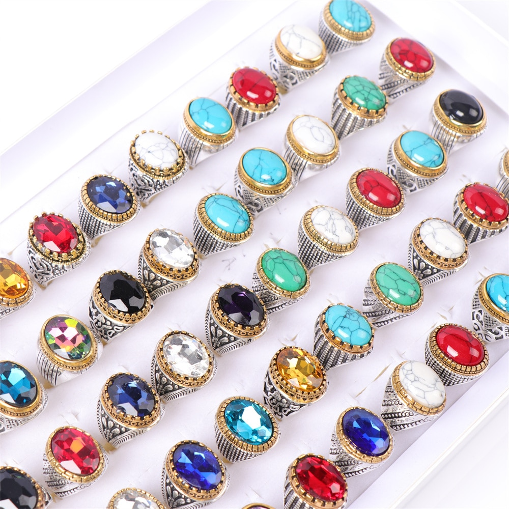 20Pcs/lot Vintage Colorful Glass Turquoise Silver Plated Rings For Women Men Mix Style Fashion Jewel