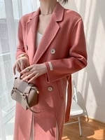 double faced cashmere overcoat womens mid long autumn winter 2021 new pink high end fashion temperament wool jacket