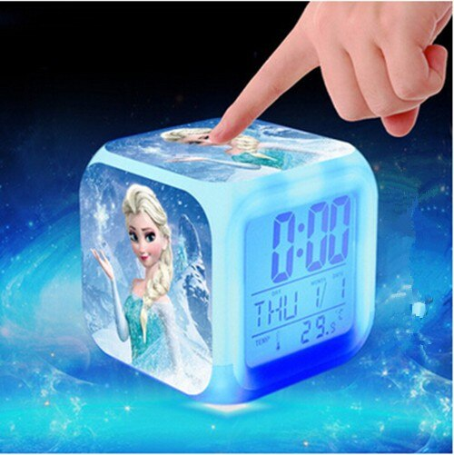 Gran oferta de reloj despertador Digital de princesas, Elsa, Anna, Minions, Pokemon go, reloj LED cambiante de Color, reloj despertado, juguetes de dibujos animados para niños