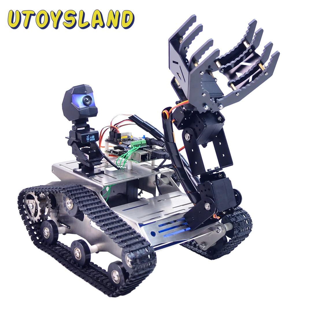 قابل للبرمجة TH WiFi بلوتوث FPV خزان سيارة روبوت عدة مع ذراع ل اردوينو ميجا خط دورية تجنب عقبة نسخة كبيرة