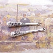 100pcs Baseball Bat Charms 6mm x 37mm DIY Jewelry Making Pendant antique silver color