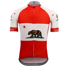 Nouveau rétro californie république hommes cyclisme vêtements vélo vêtements rouge jersey ciclismo Go pro course NATION équipe vtt jersey vélo
