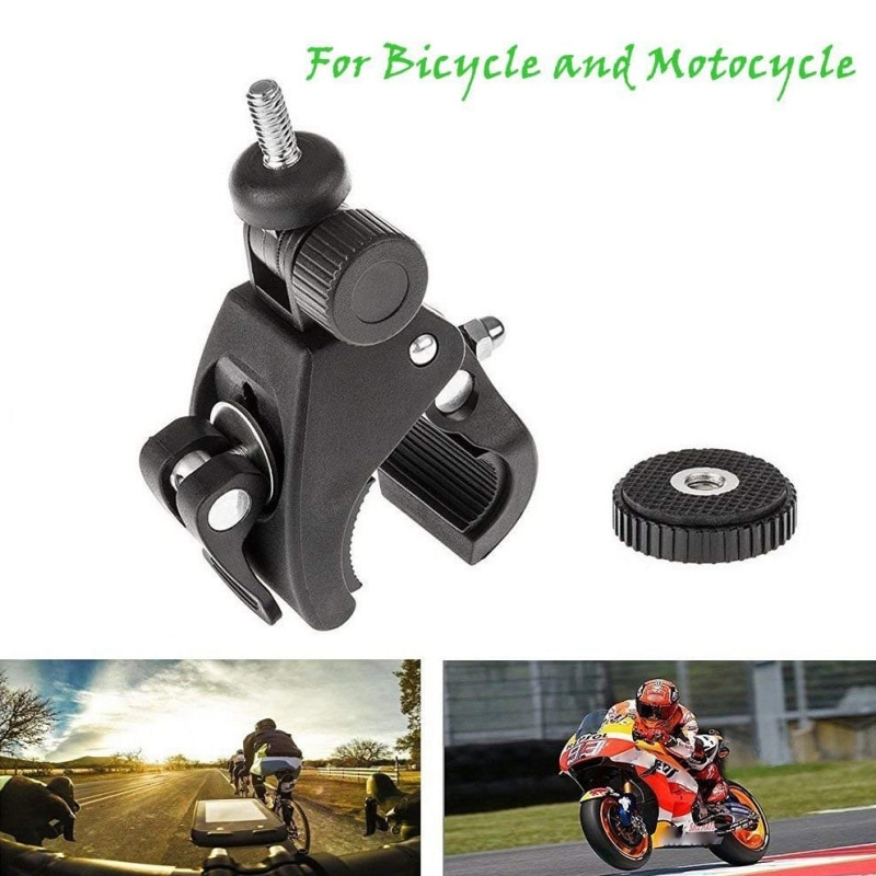 Manillar de bicicleta, pinza para cámaras, soportes, Tornillo de montaje para trípode de rotación de 1/4 grados, adaptador de soporte de montaje del manillar para bicicleta, 360