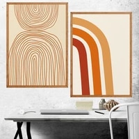 brown lines mid century modern minimalist artwork room art prints set of 2 print typography painting no frame pictures