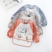 baby bibs toddler kids waterproof long sleeve apron cartoon animals children feeding smock bib baby stuff 0 3y