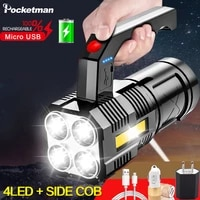 4 ledcob flashlight portable usb rechargeable flashlights waterproof torch work light with power display built in battery