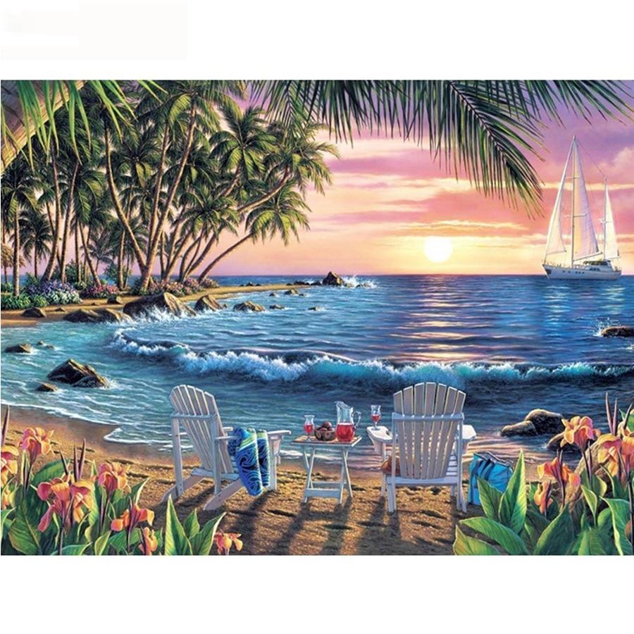 Bordado de diamantes paisaje completo taladro redondo 5D DIY diamante pintura verano mar punto de cruz playa vista decoración hogar G103