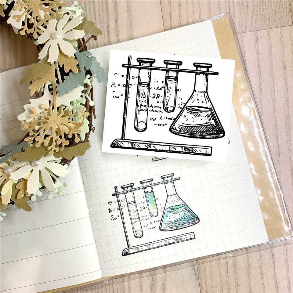 Equipo de experimentos de química, sello de silicona transparente artesanal para álbum de recortes, hoja de sellos transparentes decorativos para álbum de fotos DIY
