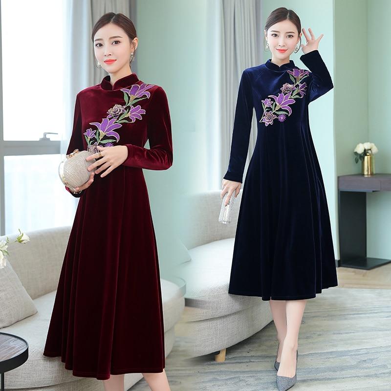 Wine red dress Chinese style cheongsam dress RETRO art women's elegant women's Dress Embroidery Dress