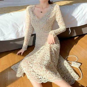 Women Elegant V Neck Lace Mesh Dress Spring Casual Long Sleeve Lining Party Midi Dresses Fall Female Dress Vestidos