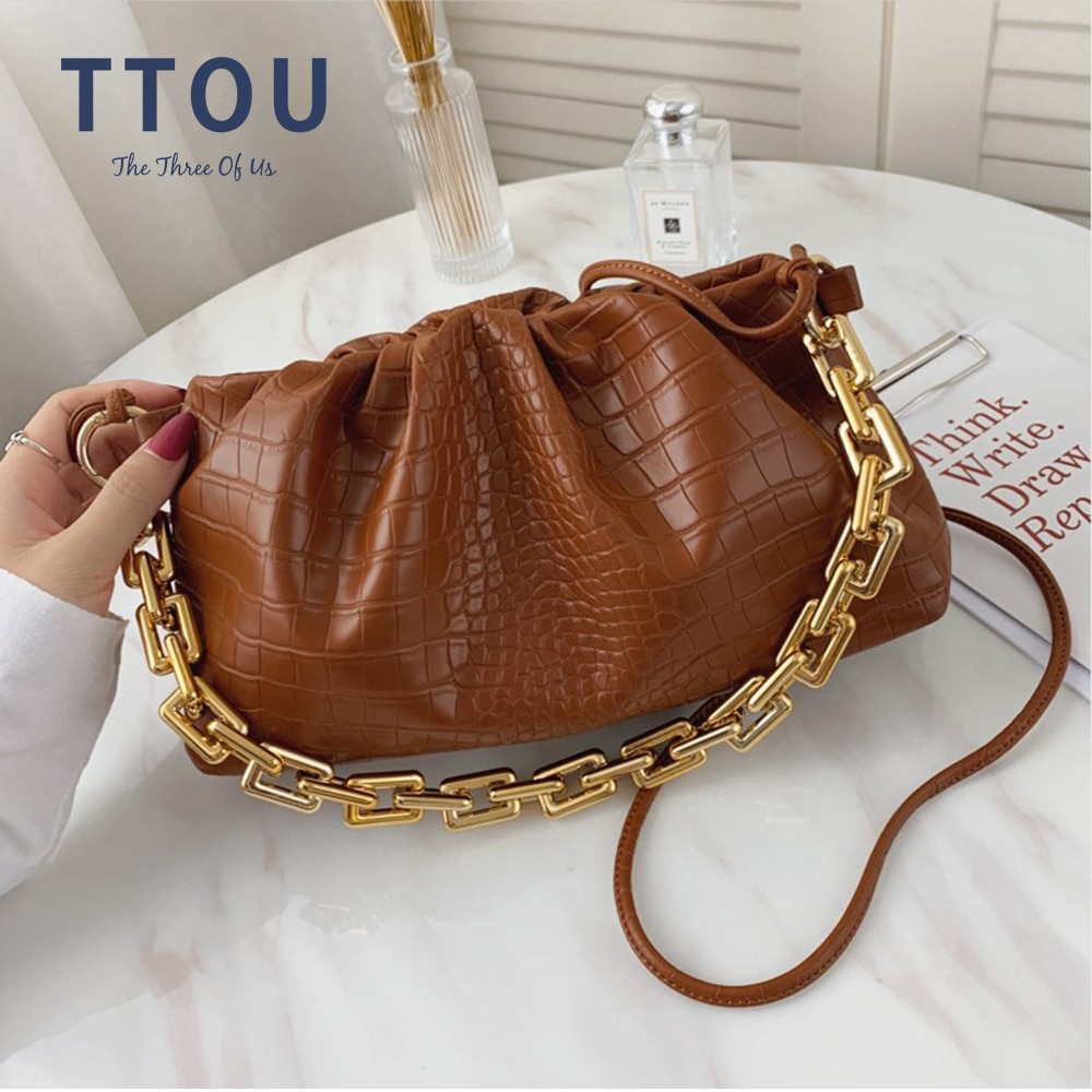 Luxury Designer Cloud Clutch Bag Women Hot Trendy Fashion Ladies Thick Chain Shoulder Bag Alligator Pattern Women Handbag Tote