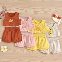 baby tank shorts bee pattern embroidery bright colors elastic waist loose version summer clothing