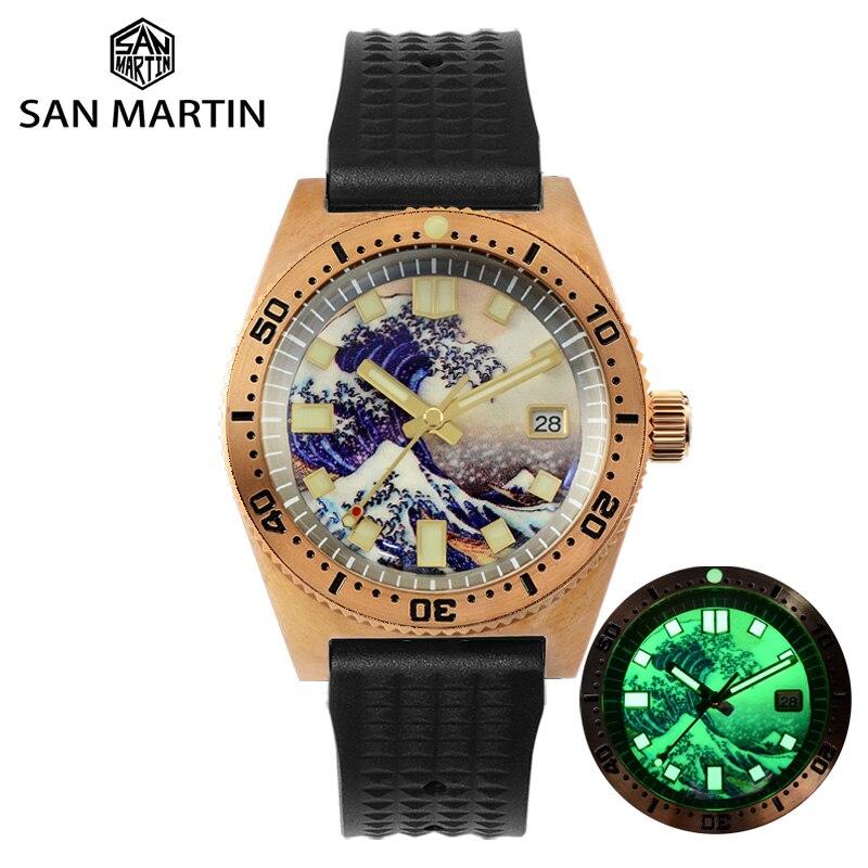 سان مارتن 62MAS Cusn8 البرونزية غواص ساعة ثلاثية الأبعاد الطباعة كامل مضيئة تصفح الهاتفي NH35 التلقائي ساعة ميكانيكية الياقوت 20Bar