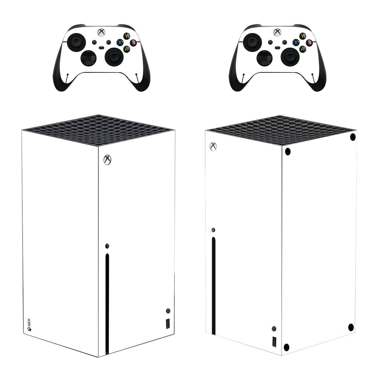 لون أبيض نقي الجلد ملصق غطاء لصائق ل Xbox سلسلة X وحدة التحكم و 2 تحكم Xbox سلسلة X الجلد ملصق الفينيل