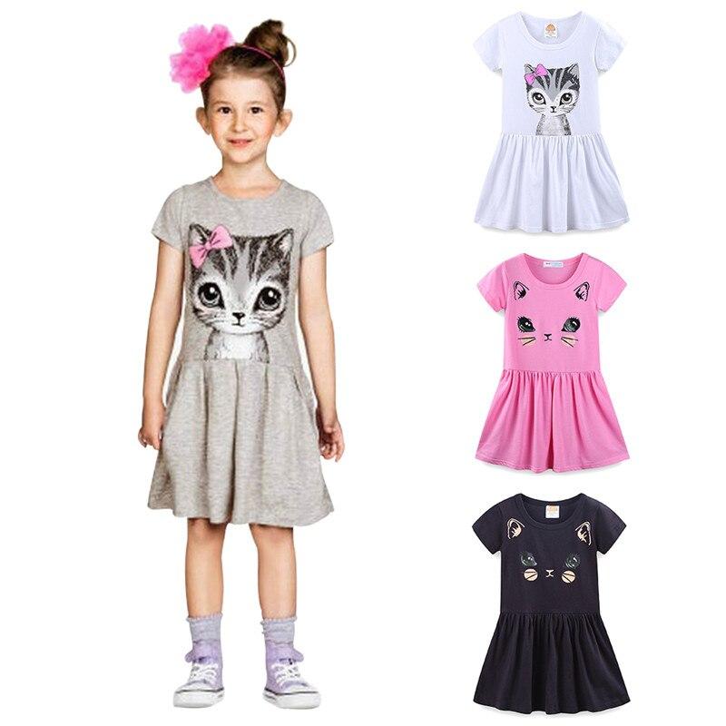 Vestidos de manga corta para niñas pequeñas de guardkingdom, traje para gatito de dibujos animados para verano de 3-7T