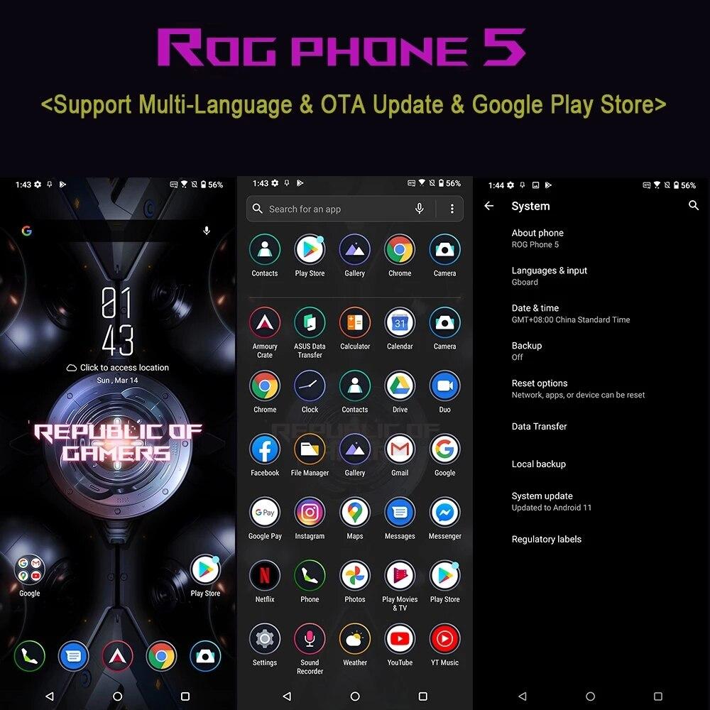 Фото4 - Официальный телефон ASUS ROG с глобальной прошивкой, женственный телефон, игровой телефон с процессором Snapdragon 888 +, смартфон 65 Вт, зарядка 6000 мАч,...