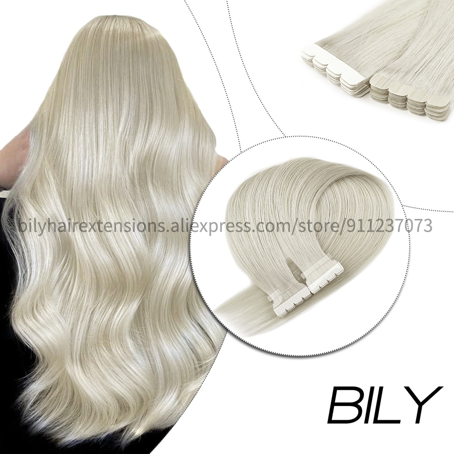 Bily Silver Grey Mini Tape In Human Hair Extensions Skin Weft Adhesive Invisible Double Side Tape Russian Hair 12