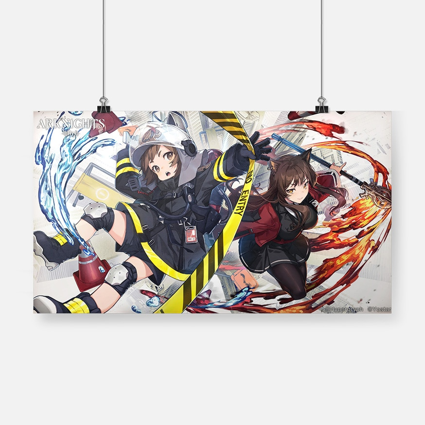 Con chicas de Anime Arknights Skyfire Shaw cartel lienzo pintura Arte de la pared Decoración habitación sala de estudio Decoración de casa huellas