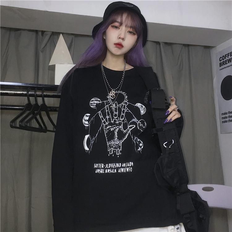 2021 Early Autumn New Korean Harajuku Style Dark Planet Pattern Printed Loose Long Sleeves T-shirt M