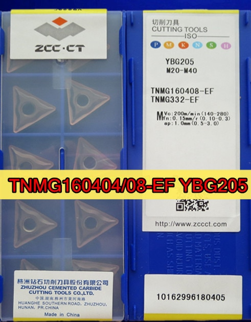 TNMG160404-EF TNMG160408-EF YBG205 10 pçs/set 100% ZCC. CT inserção YBG205 = M20-M40 Processo em aço inoxidável Frete grátis
