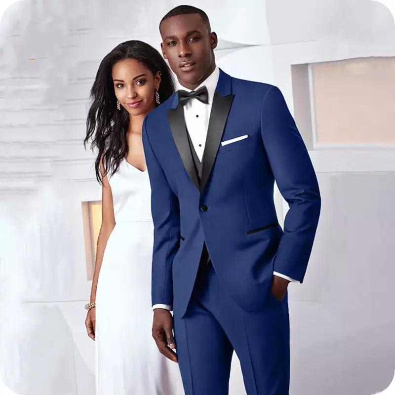 بدلة العريس لحفلات الزفاف ، بدلة سوداء بلغت ذروتها عند الصدر ، بدلة رجالية للأعمال من ثلاث قطع (جاكيت + بنطلون + صدرية)