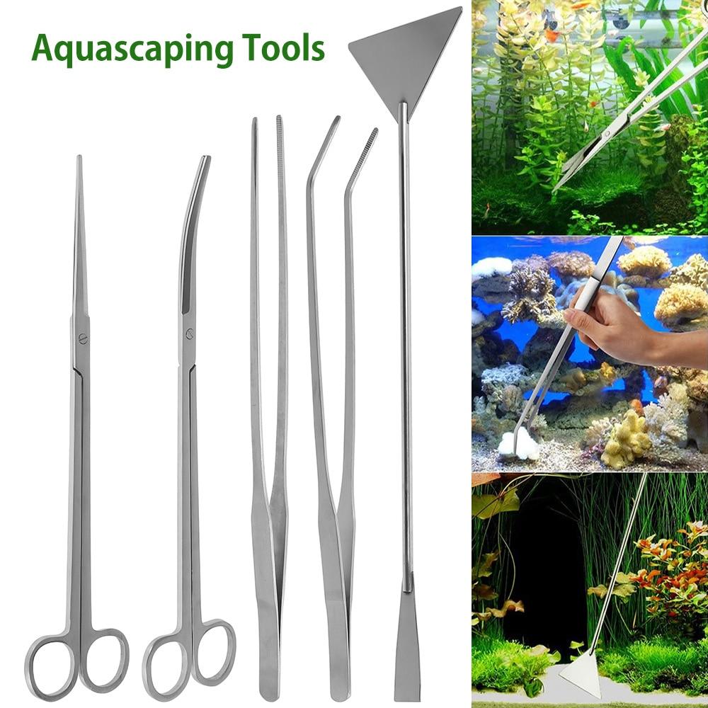 Aquarium Tools Kit 5 in 1 Stainless Steel Fish Tank Aquatic Plant Tweezers Scissor Spatula Sets Aquarium Fish Tank Tools Set