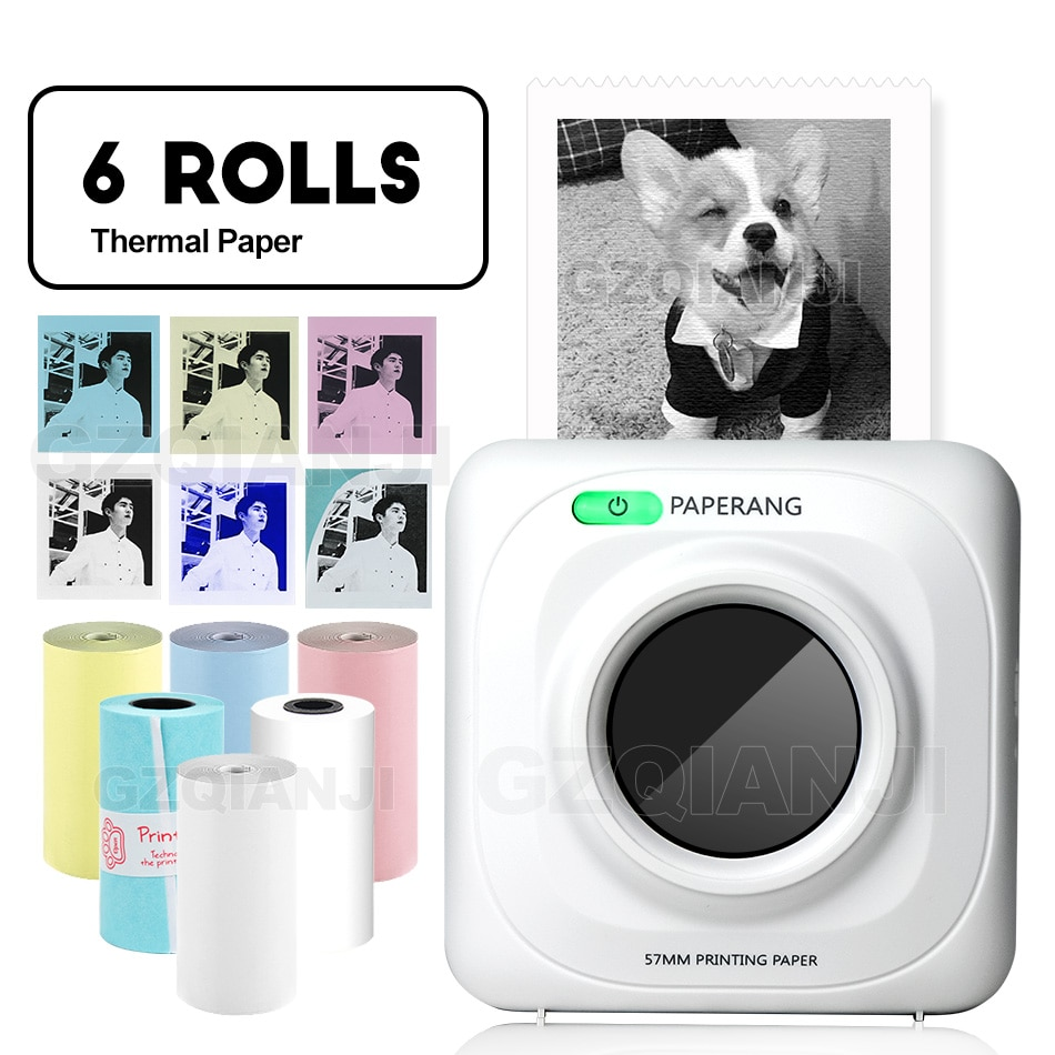 Paperang p1 58mm impressora térmica portátil, mini bluetooth 4.0, android, ios, conexão wireless, mini impressoras de bolso