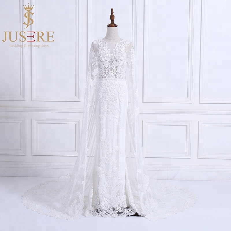 Jusere boda Vestido con cuentas apliques Vestido De novia con capa de novia Vestido De novia