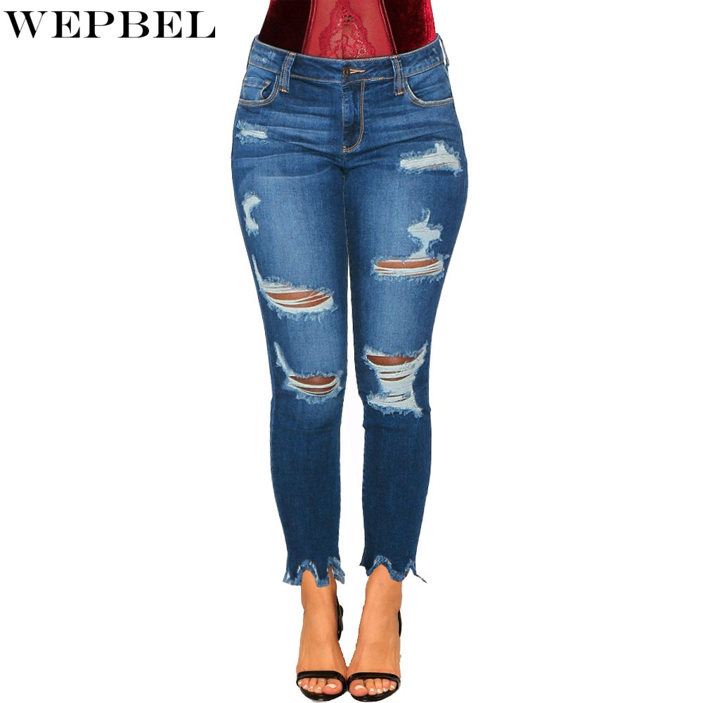 WEPBEL High Waist Jeans Women's Casual Ripped Hole Bleached Jeans Spring Summer Solid Color Button Denim Pencil Pants