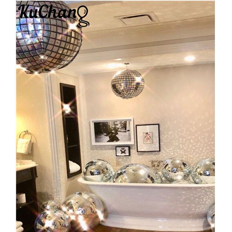 5 uds. 22 pulgadas 4D cubo Disco Bar bola metálico láser globos metalizados 80s 90s Retro Popular fiesta boda tema decoración del espacio