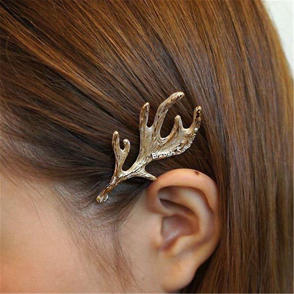 Nuevos accesorios de cabello para mujer a la moda, Clip de sujeción lateral de aleación con cuernos, Clip para el cabello, soporte de horquilla de joyería de princesa con personalidad