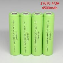 2 30 шт. 17670 4/3A перезаряжаемая батарея 4500 мАч 1,2 в Ni MH 17670 4/3a батарея