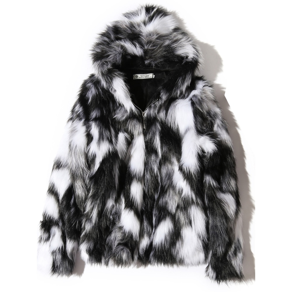 2020 Winter Warm Plus Fleece Faux Fur Fox Fur Casual Mens Hooded Jacket Thick Boutique Fashionable Male Slim Coats Size S-5XL