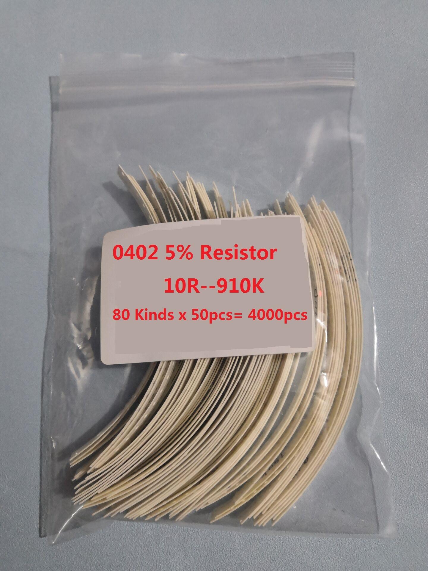 0402 smd resistor kit 80 tipos x 50 pces = 4000 pces 10r a 1m 5% amostra sortidas kit 910k 470k 100k 10k 4.7k 1k 470r 220r 100r ohm