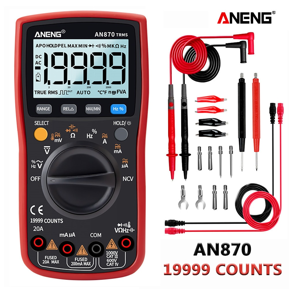 ANENG 870 الأحمر الرقمية المتر 19999 التهم الخلفية AC/DC مقياس التيار الكهربائي الفولتميتر أوم التمساح كليب سلك توصيل معزز اختب
