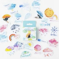 46pcslot cartoon rain clouds stickers cute snows weather stickers journal diy diary scrapbooking stationery decoration stickers