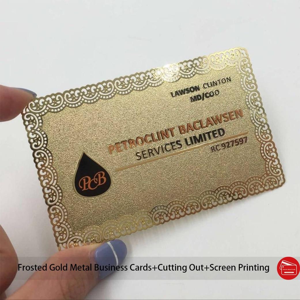 Дешевые матовые золотые металлические визитные карточки, красивые контуры, наждачная бумага, металлические карточки