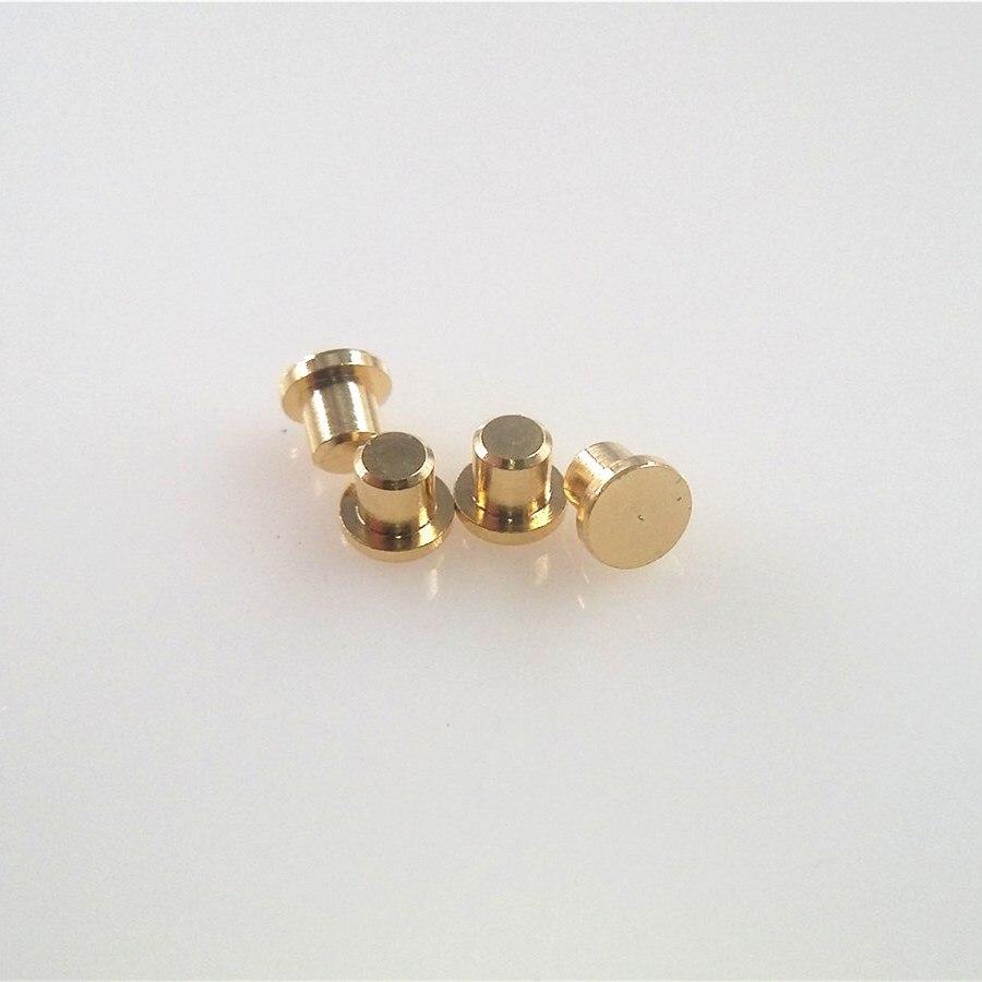 100 Uds hembra Pogo Pin brida diámetro 3,0mm Altura 2,0mm superficie plana Circular almohadilla de contacto hembra placa de oro conector de resorte