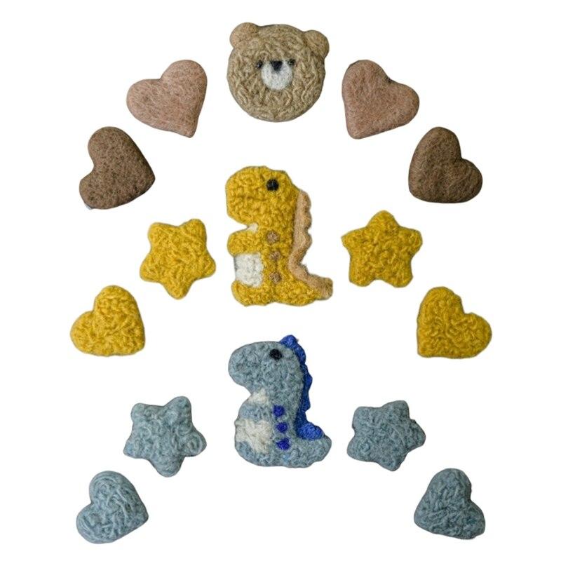 5Pcs/Set DIY Handmade Baby Wool Felt Dinosaur Stars Love Heart Home Party Decorations Newborn Infant Photography Props