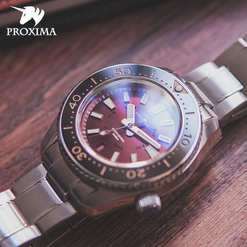 بروكسيما 2021 العلامة التجارية الجديدة الرجال والنساء الترفيه ساعة ميكانيكية التلقائي 300 متر ساعة غوص C3 السوبر مشرق ساعة ياقوت NH36